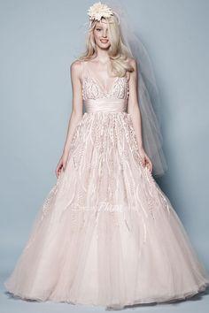 blush beaded tulle and taffeta sleeveless v-neck a-line empire wedding dress