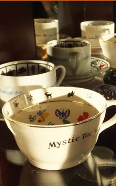 Fortune telling cup sets in my collection. Reading Tea Leaves, Fortune Telling, Practical Magic, Tea Art, Kitchen Witch, Tea Accessories, Cupping Set, Coffee Break, High Tea