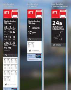 A Better Bus Stop Sign for Rochester While visiting Seattle a few years ago… Bus Stop Design, Transport Public, Signage Board, Navigation Design, Wayfinding Signs, Schedule Design, Signage Design, Logo Design, Environmental Graphic Design