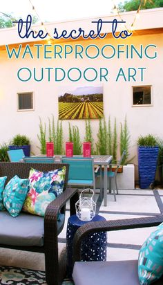 ADD STYLE TO THE OUTDOORS by waterproofing canvas art to hang on an exterior wall. Learn the easy, DIY secret to making any piece of canvas art water repellent so that it can hang on your porch, patio, deck or backyard rain or shine.