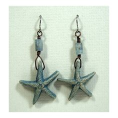 One pair of Hand Made Ceramic Stoneware Starfish Earrings, Polished Labradorite Tubes, Copper Accents, Niobium Hypo Allergenic Ear Wires