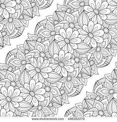 Monochrome Seamless Pattern with Floral Motifs. Endless Texture with Flowers, Leaves etc. Natural Background in Doodle Line Style. Coloring Book Page. Contour Illustration. Abstract Art Food Coloring Pages, Coloring Pages For Grown Ups, Adult Coloring Book Pages, Printable Adult Coloring Pages, Flower Coloring Pages, Mandala Coloring Pages, Coloring Books, Coloring Sheets, Lettering Styles Alphabet