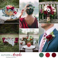 Dalie e melagrane, rosso, Marsala e verde: idee e ispirazioni per il vostro matrimonio chic e raffinato tra autunno e inverno.