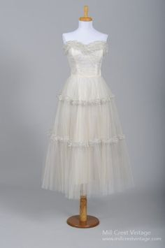 1950's Silver Tulle Vintage Wedding Dress