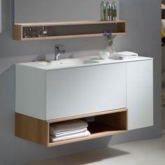 meuble de salle de bain suspendu 110 cm avec un plan vasque en solid surface - 100 Cm Plan Vasque