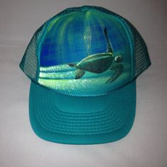a08eb1c8be8e4 Items similar to Hand-painted Hawaiian Honu Hat - 1 hand-painted Teal Trucker  Hat on Etsy