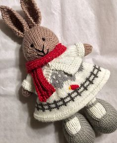 Saw the Drifty Hat pattern by Mandy Powers a year ago and just knew it would be an adorable wintertime bunny dress. The glimmer yarn gives it a snowy twinkle. I used a cast on of 96 stitches and fo...