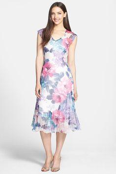 KOMAROV | Komarov Cap Sleeve Print Chiffon Dress | Nordstrom Rack