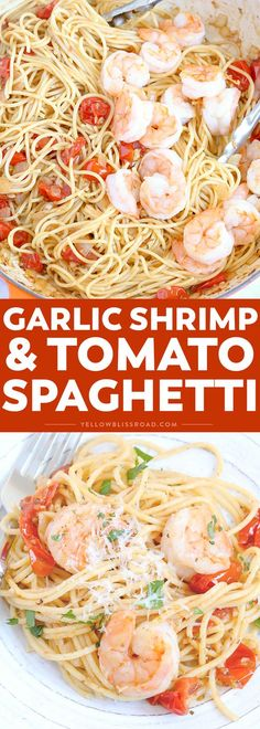 Garlic Shrimp & Tomato Spaghetti is an easy to whip up pasta dinner and a delicious weeknight meal that takes just minutes to prepare. It's sure to be a new favorite! via @yellowblissroad