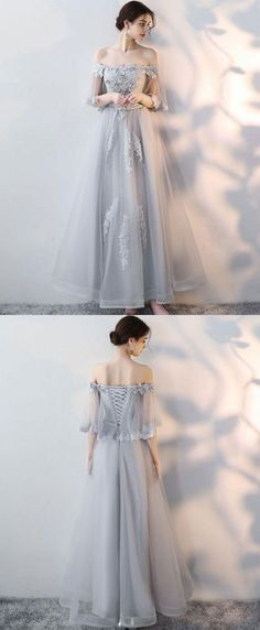Gray tulle lace long prom dress, lace evening dress,P1370