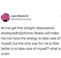 Mental And Emotional Health, Mental Health Awareness, Funny Quotes, Funny Memes, Adhd And Autism, Stupid Funny, Tumblr Funny, Anxiety, Psychology