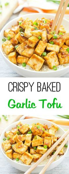 Tofu is baked until golden and crispy and then tossed in a Chinese-style garlicky sauce. Tofu is baked until golden and crispy and then tossed in a Chinese-style garlicky sauce. Tofu Dishes, Vegan Dishes, Vegan Meals, Vegetarian Dinners, Tofu Meals, Vegetarian Food, Vegan Food, Vegan Ramen, Diet Meals