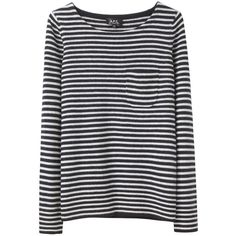 A.P.C. Marinière Sweater (245 AUD) ❤ liked on Polyvore featuring tops, sweaters, shirts, long sleeved, long sleeve striped top, long sleeve shirts, a.p.c., stripe top and striped long sleeve shirt