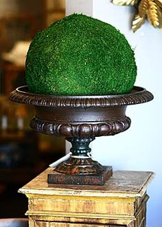 French Antique Cast Iron Jardinieres --- Hmmm - I have a cast iron urn that looks like this -  I have a Styrofoam ball - I have  a bag of preserved moss  - and a glue gun -  I think I will create one of these for my French country farm house  -----------------