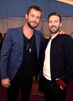 Chris Hemsworth  and Chris Evans attend the 2016 MTV Movie Awards at Warner Bros. Studios on April 9, 2016 in Burbank, California.