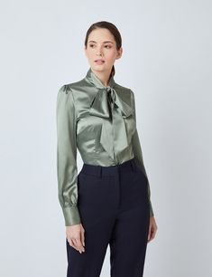 Shirts for Women | Hawes & Curtis | USA Sexy Blouse, Bow Blouse, Hawes And Curtis, Satin Bluse, Business Mode, Elegantes Outfit, Elegant Woman, Slim Fit, Blouses For Women