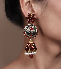 Stone Embellished Jhumki Earrings by Indiatrend Shop now on www.indianroots.com