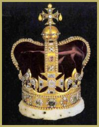 The sovereign is always crowned with St. Edward's crown. This is a golden crown encrusted with diamonds, rubies, pearls, emeralds and sapphires. It replaced the one destroyed by Cromwell.