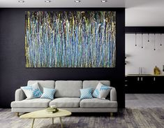 Room View - A Sinful Garden (anochecer) by Nestor Toro Large Painting, Acrylic Painting Canvas, Abstract Paintings, Original Paintings, Cut Canvas, La Art, Contemporary Abstract Art, Affordable Art, Expressionism