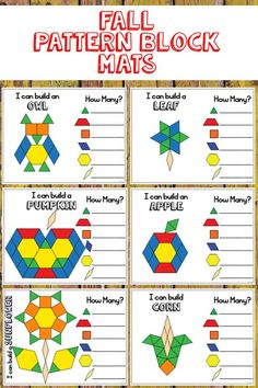 Fall themed pattern block templates are a fun math center activity in a kindergarten classroom. Pattern Block Templates, Pattern Worksheet, Pattern Blocks, Kindergarten Centers, Math Centers, Kindergarten Classroom, Math Activities For Kids, Fun Math, Math Games