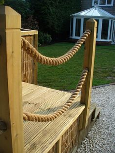 rope/wood stairs | Wood Buildings & Fences | Decking & Play Systems