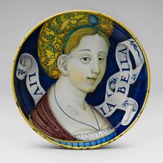 Low-footed bowl with bust of a woman, ca. 1530  Urbino or Castel Durante  Tin-glazed earthenware (maiolica)