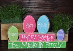 Easter Block Set-Personalized Wood Block Love Set - home decor primitive block gift holiday personalized wood sign Easter Decor. $20.99, via Etsy.