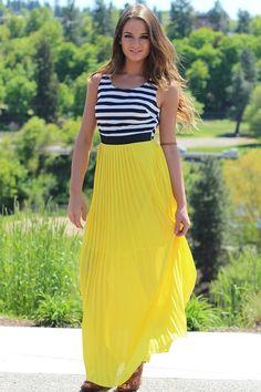 Nautical Splash Navy Striped Chiffon Maxi Dress $42
