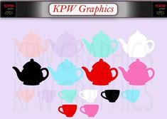 Teapots and Teacups Silhouettes (various colours) in a PNG format. Personal & Small Commercial use Png Format, Clipart Images, Teacups, School Projects, Silhouettes, Tea Pots, Commercial, Clip Art, Scrapbook