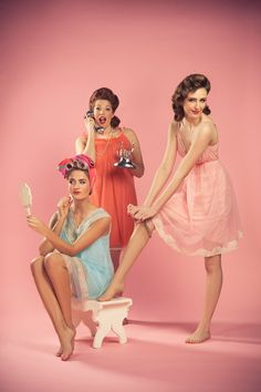 Vintage Style Hen Party Ideas - Vintage Styling by Decade Darlings | onefabday.com. Pinup friends