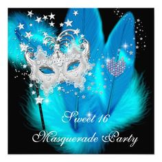 Masquerade Sweet 16 Teal Black Feather Mask Personalized Announcement today price drop and special promotion. Get The best buyThis DealsOnline Secure Check out Quick and Easy. Masquerade Party Themes, Masquerade Party Invitations, Sweet 16 Masquerade, Birthday Party Invitations, Birthday Party Images, Birthday Party For Teens, Sweet 16 Birthday, 16th Birthday, Birthday Ideas