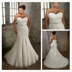 Beaded Belt Mermaid/Trumpet Lace Wedding Dress.