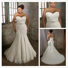 Beaded Belt Mermaid/Trumpet Lace Wedding Dress.