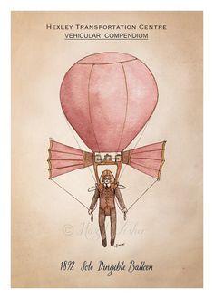 Solo Dirigible Balloon - 5x7 inch print, Steampunk illustration