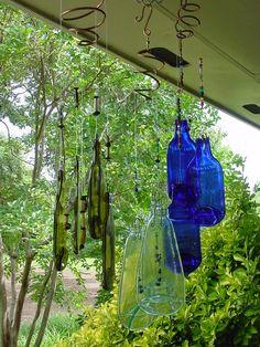 Slumped bottle/Flattened bottle wind chimes