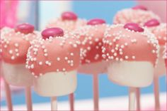 mashmallow pops dipped in white chocolate...sprinkles...wrap in cellophane bags...tie with ribbon...give as token gifts
