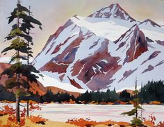 Mt Shuksan in the North Cascades Watercolor Landscape Paintings, Watercolour Art, Watercolor Flowers, Forest Mountain, Lake Forest, Cascade Mountains, North Cascades, Mountain Paintings, Mountain Landscape