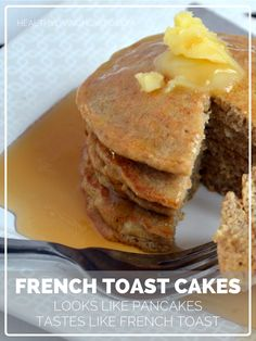 French Toast Cakes. Looks like pancakes, tastes like French toast. These are FLOURLESS! No almond flour, no coconut flour! #glutenfree #paleo #lowcarb | healthylivinghowto.com
