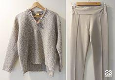 Jersey de lana con escote desflecado y legging crudo de #23CB en Lagasca 83