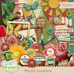 Playful Sunshine Digital Scrapbook Kit by quirkytwerp on Etsy