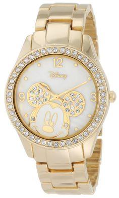 Disney Women's MK2127 Mickey Mouse Rhinestone Accent Gold-Tone Bracelet Watch
