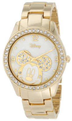 Disney Women's MK2127 Mickey Mouse Rhinestone Accent Gold-Tone Bracelet Watch, (disney, mickey mouse watch, watches, mickeymouse watch, woman mickey mouse watch, disney watches, bling, casual watch, disney watches and jewelry, minnie mouse watch)