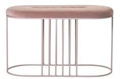 Banc rembourré Posea / Velours - L 80 cm Rose nude / Base rose - Bolia - Décoration et mobilier design avec Made in Design