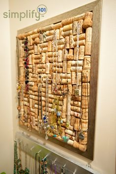wine cork necklace wall hanger - It works best when Whitney makes you the corkboard. I'm using mine for bracelets and rings.