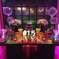 La imagen puede contener: flor, planta e interior Neon Birthday, Birthday Goals, 13th Birthday Parties, Birthday Party For Teens, Sleepover Party, 15th Birthday, Glow In Dark Party, Glow Party, Disco Party