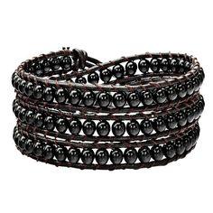 Handmade Black Hematite Beads Wrap Bracelet on Brown Leather 3x Wraps Bracelet—10