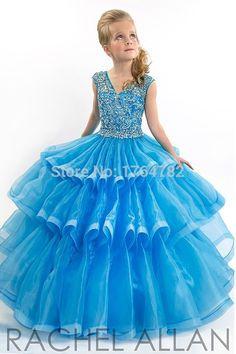 Brilho meninas vestidos Pageant vestidos de baile azul V Neck bonito crianças vestido em Vestidos de Dama de Honra de Casamentos e Eventos no AliExpress.com | Alibaba Group
