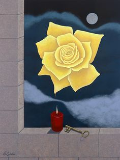 Yellow Rose of Remembrance - acrylic painting by John Grimball and available in prints from  www.skylinearteditions.com