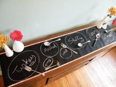 chalkboard cloth or painted builder's paper table runner