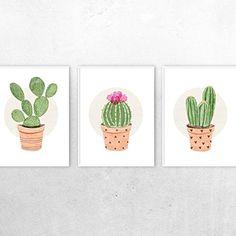 Cactus Art Prints, Artist Illustrations, Set of 3 - Succulents - Wall Art